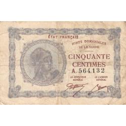 VF 50-01 - 50 centimes - Mines Domaniales de la Sarre - 1920 - Etat : TB-