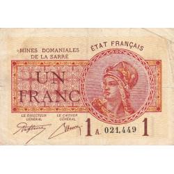 VF 51-1 - 1 franc - Mines Domaniales de la Sarre - 1920 - Etat : TB+