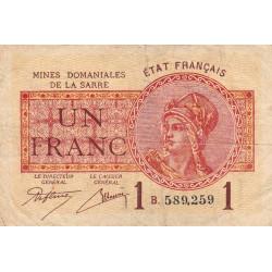 VF 51-02 - 1 franc - Mines Domaniales de la Sarre - 1920 - Etat : TB