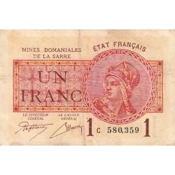 VF 51-03 - 1 franc - Mines Domaniales de la Sarre - 1920 - Etat : TB+