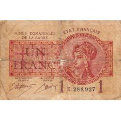 VF 51-5 - 1 franc - Mines Domaniales de la Sarre - 1920 - Etat : B-