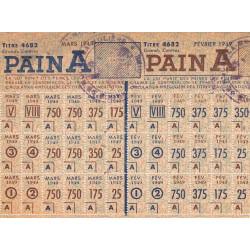 Rationnement - Pain - Titre 4682 - 02/1949 et 03/1949 - Catégorie A - Roche-la-Molière (42) - Etat : TTB