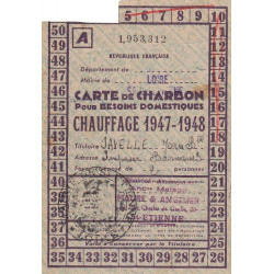 42-Saint-Etienne - Rationnement - Charbon - 1947 - Carte A - Etat : TTB