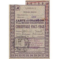 Rationnement - Charbon - 1947 - Carte A - Saint-Etienne (42) - Etat : TTB