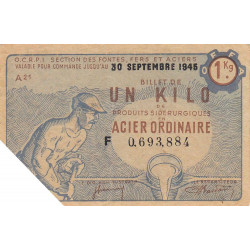 1 kg acier ordinaire - 30-09-1945 - Non endossé - Etat : TTB+