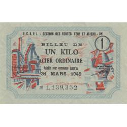 1 kg acier ordinaire - 31-03-1949 - Non endossé - Etat : SUP