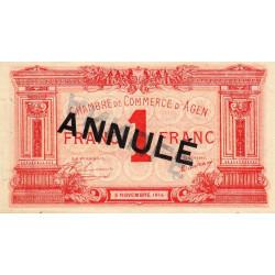 Agen - Pirot 2-4c - 1 franc - Annulé - 1914 - Etat : SUP