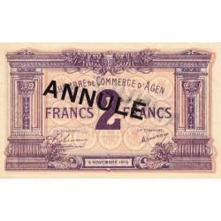Agen - Pirot 2-6c variété - 2 francs - 05/11/1914 - Annulé - Etat : SUP
