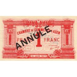 Agen - Pirot 2-10b - 1 franc - 14/06/1917 - Annulé - Etat : SUP