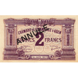 Agen - Pirot 2-12b - 2 francs - 14/06/1917 - Annulé - Etat : SUP
