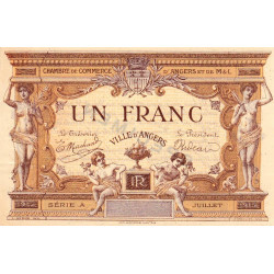 Angers (Maine-et-Loire) - Pirot 8-2a - 1 franc - Série A - 07/1915 - Spécimen - Etat : SUP+