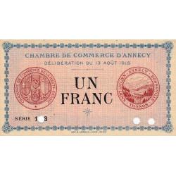 Annecy - Pirot 10-3 - 1 franc - Série 103 - Annulé - 13/08/1915 - Etat : NEUF