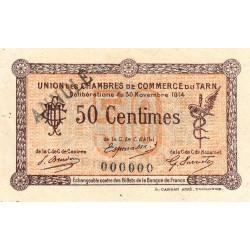 Albi / Castres / Mazamet (Tarn) - Pirot 5-2 variété - 50 centimes - 30/11/1914 - Annulé - Etat : SUP+