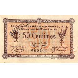 Albi / Castres / Mazamet (Tarn) - Pirot 5-2 variété - 50 centimes - 30/11/1914 - Annulé - Etat : TTB