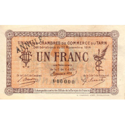 Albi / Castres / Mazamet (Tarn) - Pirot 5-6 variété - 1 franc - 30/11/1914 - Annulé - Etat : SUP