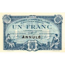Albi / Castres / Mazamet (Tarn) - Pirot 5-14 - 1 franc - 22/12/1917 - Annulé - Etat : SUP-