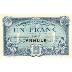 Albi / Castres / Mazamet (Tarn) - Pirot 5-14 variété - 1 franc - 22/12/1917 - Annulé - Etat : SUP