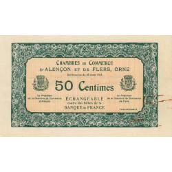 Alençon / Flers (Orne) - Pirot non répertorié - 50 centimes - Spécimen - 1915 - Etat : TTB+