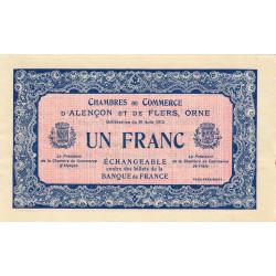 Alençon / Flers (Orne) - Pirot non répertorié - 1 franc - 10/08/1915 - Spécimen - Etat : SUP