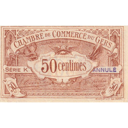Auch (Gers) - Pirot 15-13a - 50 centimes - Série K - 17/01/1918 - Annulé - Etat : SUP