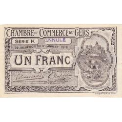 Auch (Gers) - Pirot 15-16a - Série K - 1 franc - Annulé - 1918 - Etat : SUP+