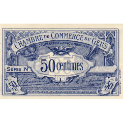 Auch (Gers) - Pirot non répertorié - Série N - 50 centimes - Spécimen - 1920 - Etat : SUP+