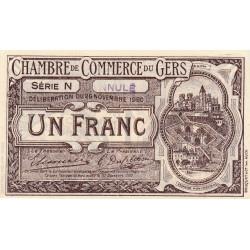 Auch (Gers) - Pirot 15-23a - 1 franc - Série N - 26/11/1920 - Annulé - Etat : SUP+