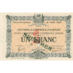 Avignon - Pirot non répertorié - 1 franc - 11/08/1915 - Spécimen - Etat : SUP+
