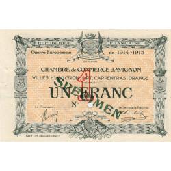 Avignon - Pirot non répertorié - 1 franc - Spécimen - 1915 - Etat : SUP+