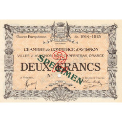 Avignon - Pirot 18-12 - 2 francs - 11/08/1915 - Spécimen - Etat : SUP+