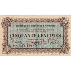 Auxerre - Pirot 17-13a - 50 centimes - Annulé - 1916 - Etat : SUP