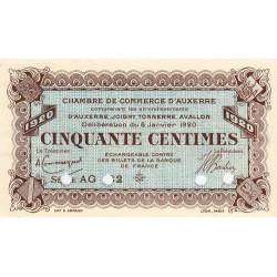 Auxerre - Pirot 17-21 - 50 centimes - Série AG 132 - 08/01/1920 - Annulé - Etat : SUP+