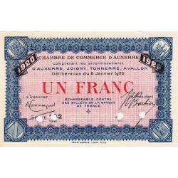 Auxerre - Pirot 17-23 - 1 franc - Série 102 - 08/01/1920 - Annulé - Etat : SUP+
