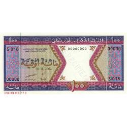 Mauritanie - Pick 4ks - 100 ouguiya - 2002 - Spécimen - Etat : NEUF