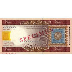 Mauritanie - Pick 11as - 200 ouguiya - 2004 - Spécimen - Etat : NEUF