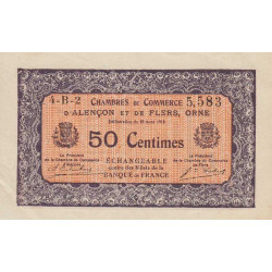 Alençon / Flers (Orne) - Pirot 6-39 - 50 centimes - Série 4B2 - 10/08/1915 - Etat : SUP