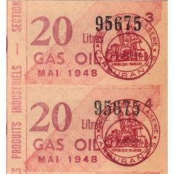 20 litres gas-oil - Mai 1948 - Seine - Bloc de 2 - Etat : SUP
