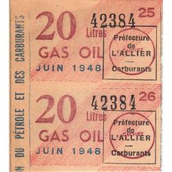 20 litres gas-oil - Juin 1948 - Allier - Bloc de 2 - Etat : SUP