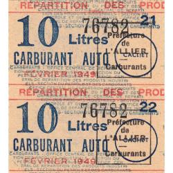 10 litres carburant auto - Février 1949 - Allier - Bloc de 2 - Etat : SUP