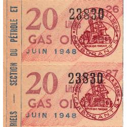 20 litres gas-oil - Juin 1948 - Seine - Bloc de 2 - Etat : SUP