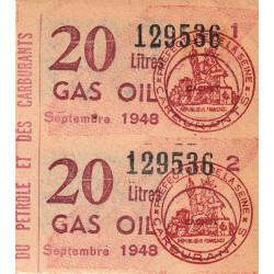 20 litres gas-oil - Septembre 1948 - Bloc de 2 - Seine - Etat : SUP
