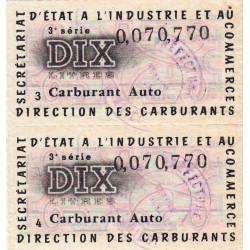 10 litres carburant auto - 1956 à 1959 - 3ème série - Ariège - Bloc de 2 - Etat : SUP