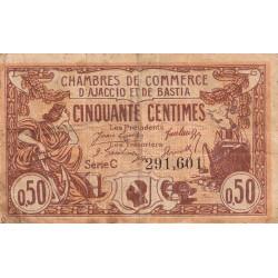 Ajaccio / Bastia - Pirot 3-8 - 50 centimes - Série C - 12/03/1920 - Etat : TB-