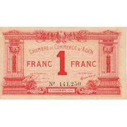 Agen - Pirot 2-3b - 1 franc - 05/11/1914 - Etat : TTB+