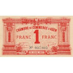 Agen - Pirot 2-9 - 1 franc - 14/06/1917 - Etat : SUP+
