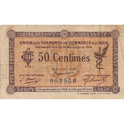 Albi / Castres / Mazamet (Tarn) - Pirot 5-1 variété - 50 centimes - 30/11/1914 - Etat : TB