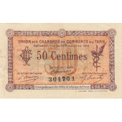 Albi / Castres / Mazamet (Tarn) - Pirot 5-1 variété - 50 centimes - 30/11/1914 - Etat : TTB