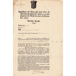 Côte d'Or - Beaune - Louis XV - Imposition des 2 sols pour livre 1752 - Etat : TTB+