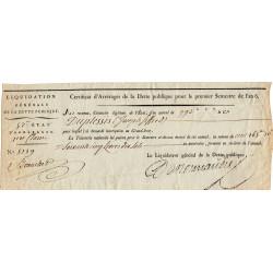 Certificat d'Arrérages de la Dette publique - 1797 - 165 livres 10 sols - Etat : TTB+