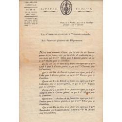 Bon au porteur - Séries Aa à Gg - Liste des signataires - An 7 - Etat : TTB